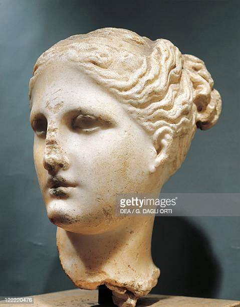 Head of Aphrodite by the School of Praxiteles, marble.