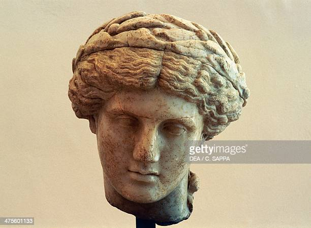 Head of Apollo wearing a laurel crown from the archaeological site of Puymin VaisonLaRomaine ProvenceAlpesCote d'Azur France Roman civilisation 2nd...