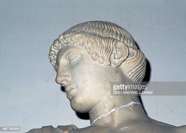 Head of Apollon of Olympia detail from the statue part of the group of sculptures from the West pediment of the Temple of Zeus in Olympia 472456 BC...