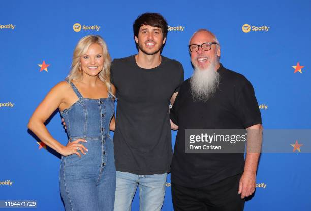 Head of Artist Label Marketing Nashville at Spotify Brittany Schaffer Morgan Evans and Global Head of Country Music at Spotify John Marks visit...