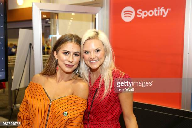 Head of Artist Label Services Brittany Schaffer and Kassi Ashton attend the Spotify's Music Streaming Lounge at Music City Convention Center on June...