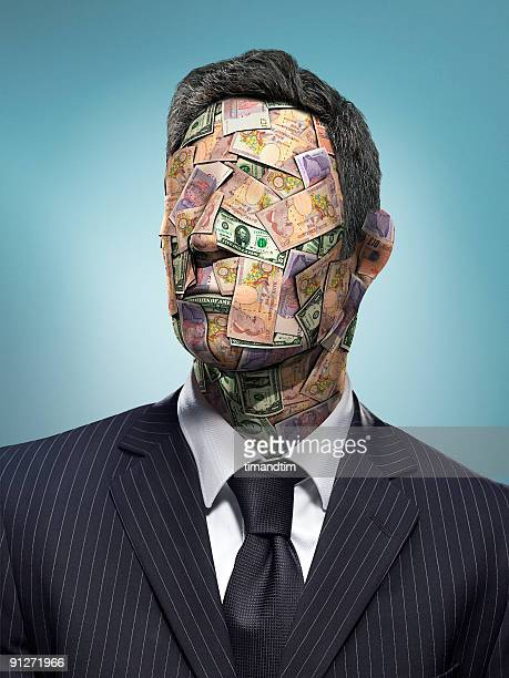 head of bank notes - gier stock-fotos und bilder