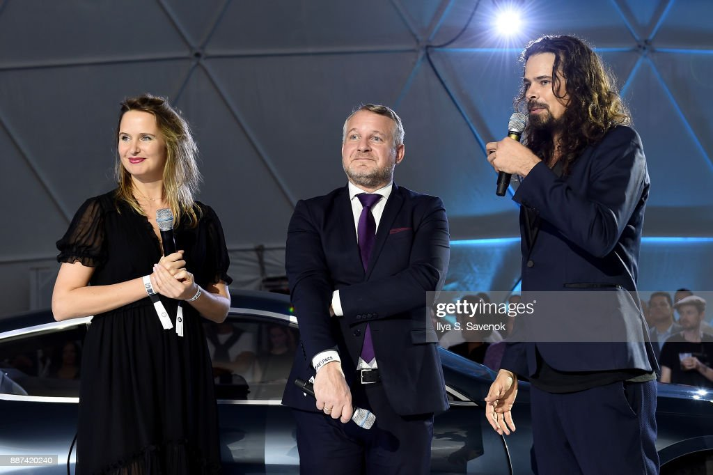 Head of BMW Group Cultural Engagement Thomas Girst (center) and Studio Drift artists Lonneke Gordijn and Ralph Nauta speak onstage at the World Premiere Of FRANCHISE FREEDOM - A Flying Sculpture By Studio Drift In Partnership With BMW at The Faena Art Dome on December 6, 2017 in Miami, Florida.