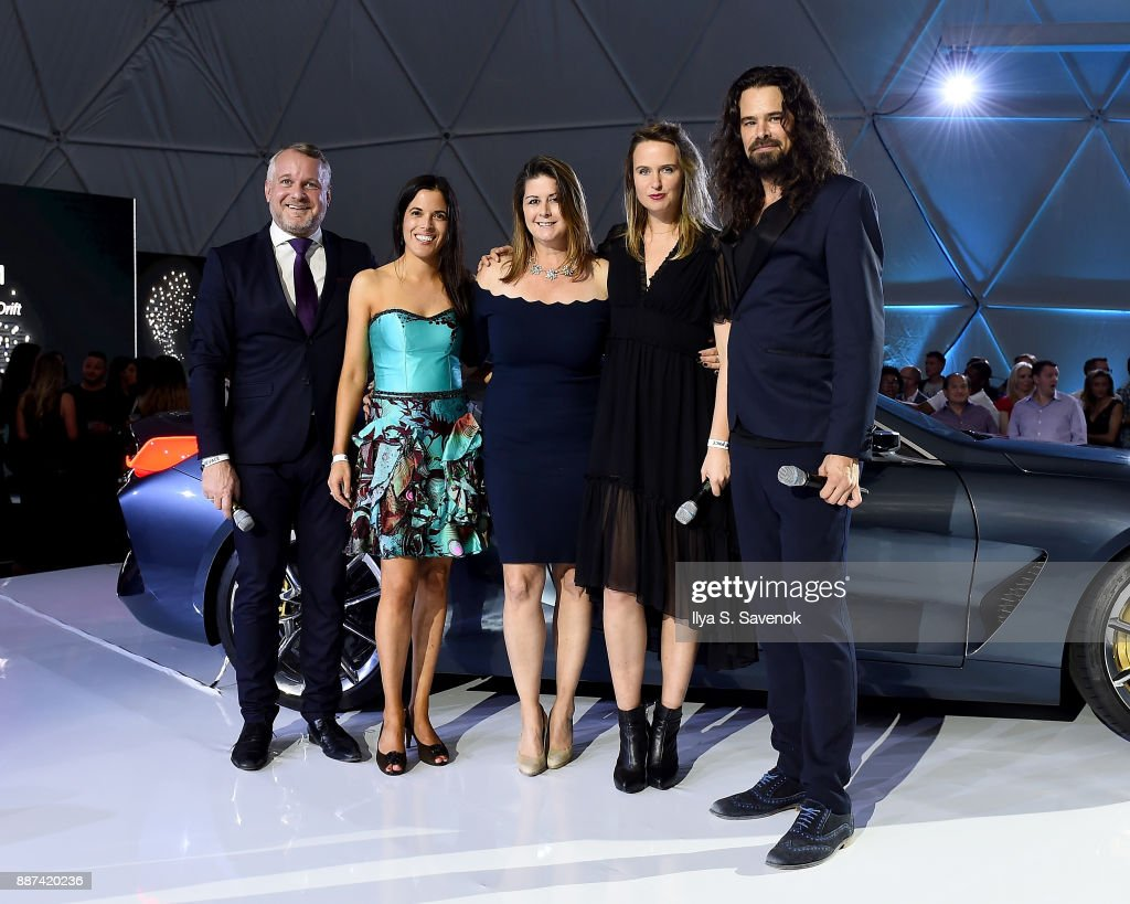 Head of BMW Group Cultural Engagement Thomas Girst, BMW Head of Brand Cooperation Hedwig Solis Weinstein, BMW North America VP of Marketing Trudy Hardy, and Studio Drift artists Lonneke Gordijn and Ralph Nauta speak onstage at the World Premiere Of FRANCHISE FREEDOM - A Flying Sculpture By Studio Drift In Partnership With BMW at The Faena Art Dome on December 6, 2017 in Miami, Florida.