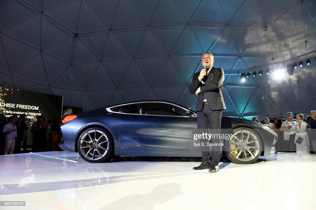 Head of BMW Group Cultural Engagement Thomas Girst speaks onstage at the World Premiere Of FRANCHISE FREEDOM - A Flying Sculpture By Studio Drift In Partnership With BMW at The Faena Art Dome on December 6, 2017 in Miami, Florida.