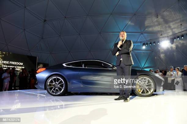 Head of BMW Group Cultural Engagement Thomas Girst speaks onstage at the World Premiere Of FRANCHISE FREEDOM A Flying Sculpture By Studio Drift In...