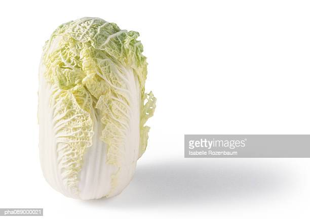 Head of bok choy standing on end, close-up