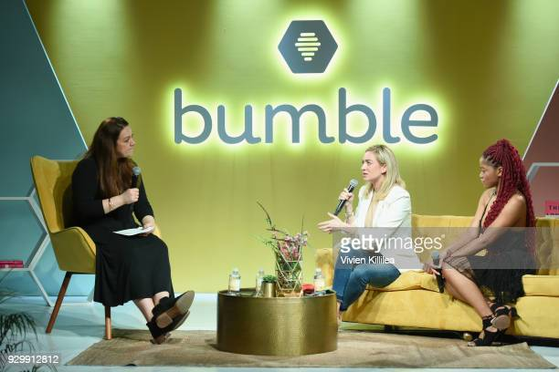 Head of Bumble Media Clare O'Connor, Founder and CEO of Bumble Whitney Wolfe and Keke Palmer speak onstage during Bumble Presents: Empowering...