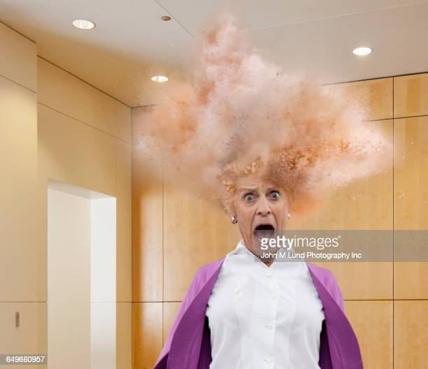 head of caucasian businesswoman exploding - head stock pictures, royalty-free photos & images