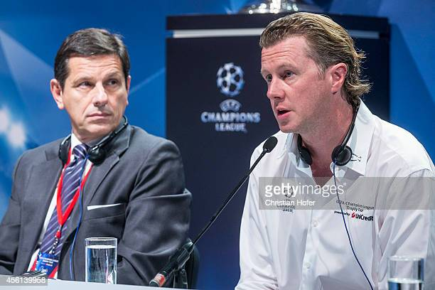 Head of CEE Division Uni Credit Gianni Franco Papa and UEFA Ambassador Steve McManaman attend the press conference prior to the Unicredit UEFA...