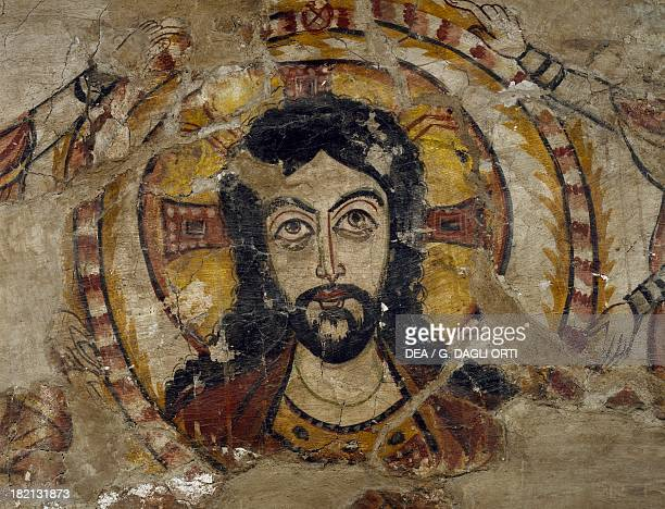 Head of Christ supported by two angels wall painting from Deir alMuharraq also known as the Burnt monastery or Monastery of the Virgin Mary Egypt...