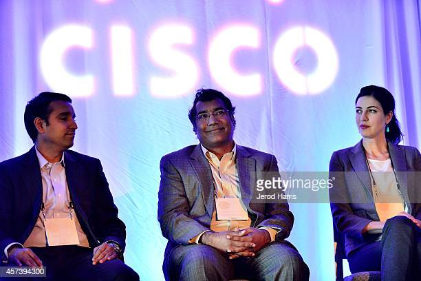 Head of CISCO's IOT Verticals Strategy Pavan Singh CEO of Nuviso Kishore Kumar and Director of Business Development for Geosim Tasha McCauley attend...