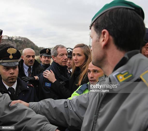 Head of civil protection Guido Bertolaso and Minister of Environment Stefania Prestigiacomo visit the town of Maierato on February 22 near Reggio...