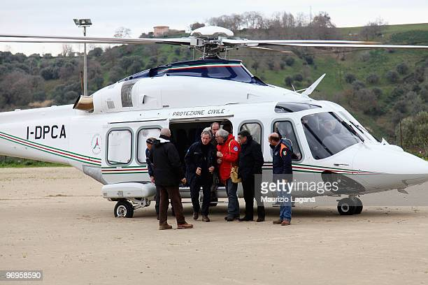 Head of civil protection Guido Bertolaso arrives by helicopter to visit the town of Maierato on February 22 near Reggio Calabria Italy The southern...