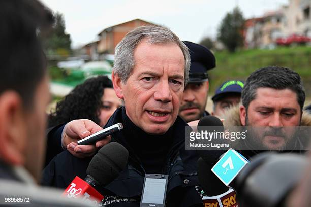 Head of civil protection Guido Bertolaso visits the town of Maierato on February 22 near Reggio Calabria Italy The southern Italian town was hit by...