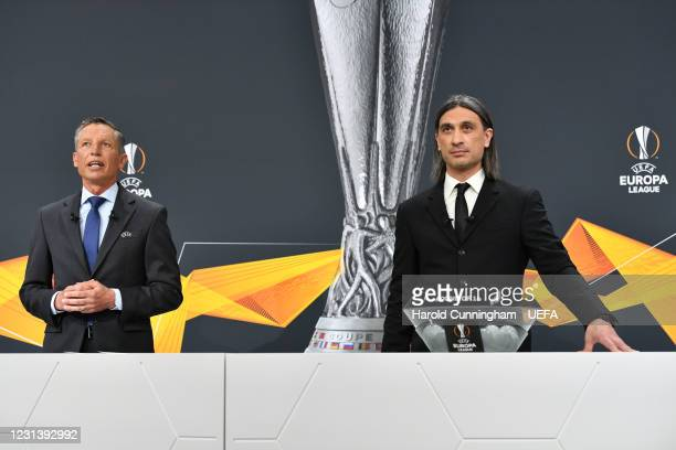 Head of Club Competitions Michael Heselschwerdt and special guest Hakan Yakin during the UEFA Europa League 2020/21 Round of 16 draw at the UEFA...