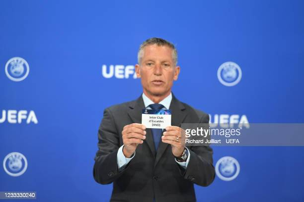 Head of Club Competitions Michael Heselschwerdt draws out the card of Inter Club d'Escaldes during the UEFA Champions League 2021/22 Preliminary...