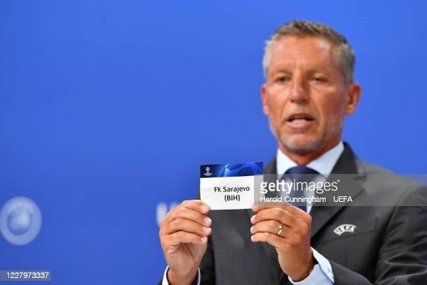 Head of Club Competitions Michael Heselschwerdt draws out the name of FK Sarajevo during the UEFA Champions League 2020/21 First Qualifying Round...