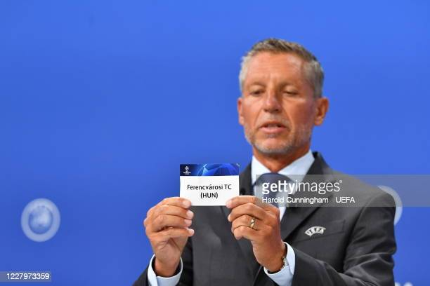 Head of Club Competitions Michael Heselschwerdt draws out the name of Ferencvarosi TC during the UEFA Champions League 2020/21 First Qualifying Round...