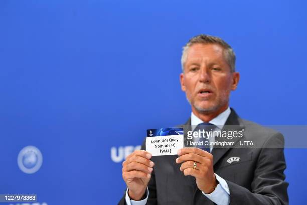 Head of Club Competitions Michael Heselschwerdt draws out the name of Connah's Quay Nomads FC during the UEFA Champions League 2020/21 First...