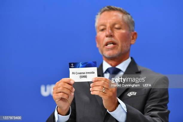 Head of Club Competitions Michael Heselschwerdt draws out the name of FK Crvena zvezda during the UEFA Champions League 2020/21 First Qualifying...