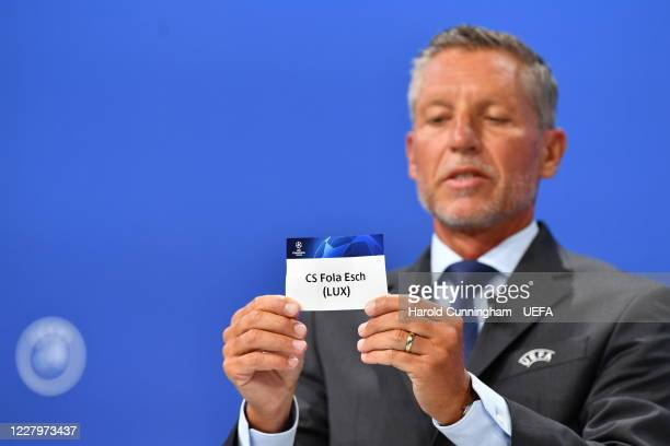 Head of Club Competitions Michael Heselschwerdt draws out the name of CS Fola Esch during the UEFA Champions League 2020/21 First Qualifying Round...