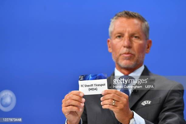 Head of Club Competitions Michael Heselschwerdt draws out the name of FC Sheriff Tiraspol during the UEFA Champions League 2020/21 First Qualifying...