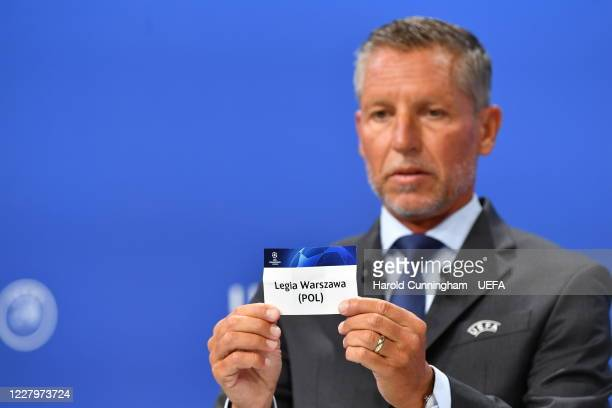 Head of Club Competitions Michael Heselschwerdt draws out the name of Legia Warszawa during the UEFA Champions League 2020/21 First Qualifying Round...