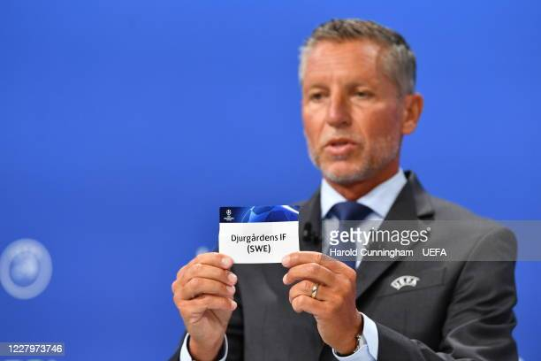 Head of Club Competitions Michael Heselschwerdt draws out the name of Djurgardens IF during the UEFA Champions League 2020/21 First Qualifying Round...