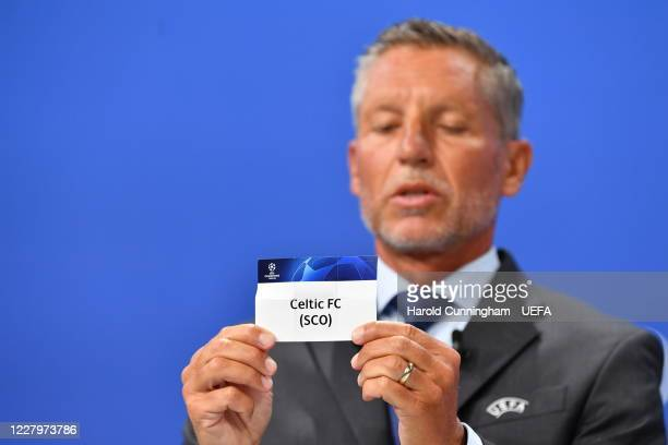 Head of Club Competitions Michael Heselschwerdt draws out the name of Celtic FC during the UEFA Champions League 2020/21 First Qualifying Round draw...