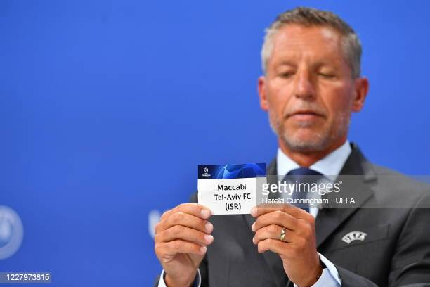 Head of Club Competitions Michael Heselschwerdt draws out the name of Maccabi TelAviv FC during the UEFA Champions League 2020/21 First Qualifying...