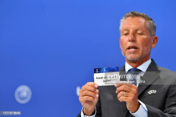Head of Club Competitions Michael Heselschwerdt draws out the name of AraratArmenia FC during the UEFA Champions League 2020/21 First Qualifying...