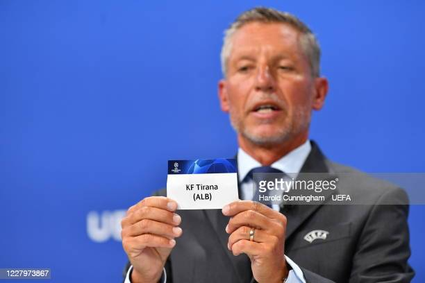 Head of Club Competitions Michael Heselschwerdt draws out the name of KF Tirana during the UEFA Champions League 2020/21 First Qualifying Round draw...