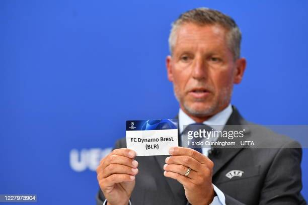 Head of Club Competitions Michael Heselschwerdt draws out the name of FC Dynamo Brest during the UEFA Champions League 2020/21 First Qualifying Round...