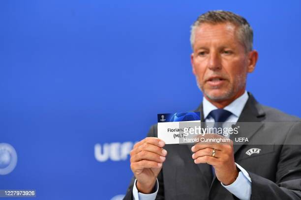Head of Club Competitions Michael Heselschwerdt draws out the name of Floriana FC during the UEFA Champions League 2020/21 First Qualifying Round...