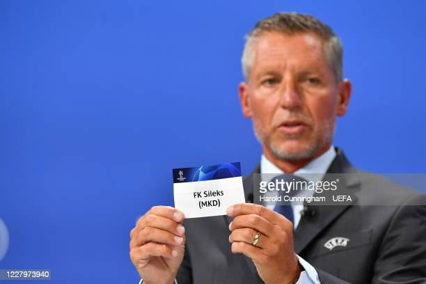 Head of Club Competitions Michael Heselschwerdt draws out the name of FK Sileks during the UEFA Champions League 2020/21 First Qualifying Round draw...