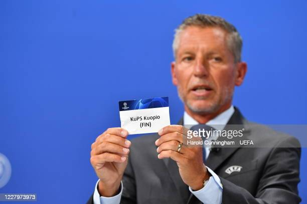 Head of Club Competitions Michael Heselschwerdt draws out the name of KuPS Kuopio during the UEFA Champions League 2020/21 First Qualifying Round...