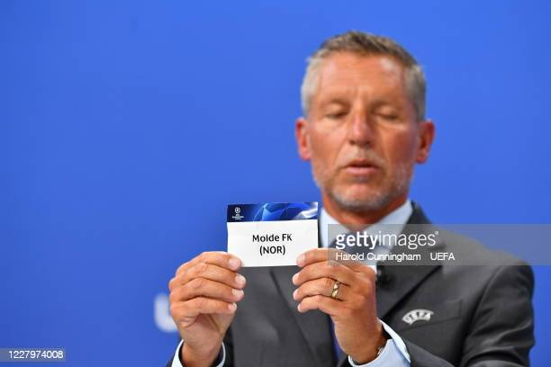 Head of Club Competitions Michael Heselschwerdt draws out the name of Molde FK during the UEFA Champions League 2020/21 First Qualifying Round draw...