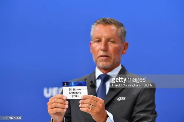 Head of Club Competitions Michael Heselschwerdt draws out the name of SK Slovan Bratislava during the UEFA Champions League 2020/21 First Qualifying...