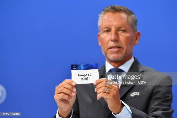 Head of Club Competitions Michael Heselschwerdt draws out the name of Europa FC during the UEFA Champions League 2020/21 First Qualifying Round draw...