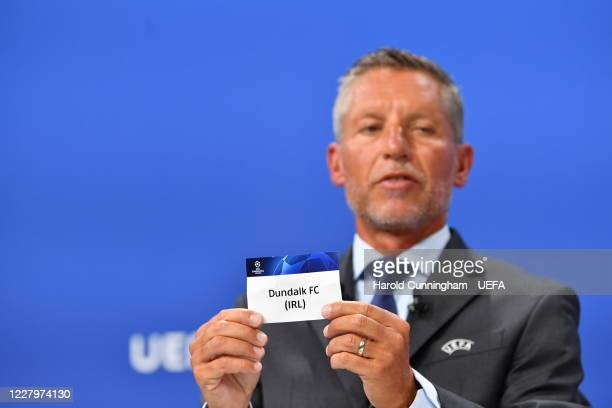 Head of Club Competitions Michael Heselschwerdt draws out the name of Dundalk FC during the UEFA Champions League 2020/21 First Qualifying Round draw...