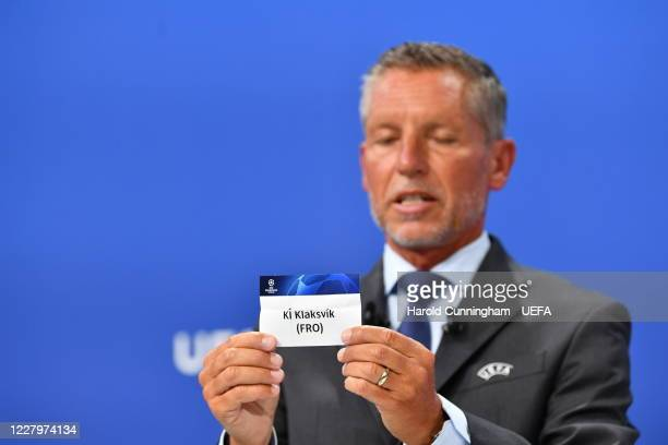 Head of Club Competitions Michael Heselschwerdt draws out the name of KI Klasksvik during the UEFA Champions League 2020/21 First Qualifying Round...