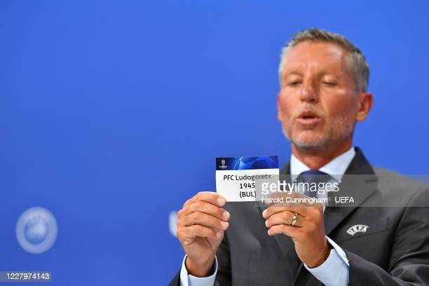 Head of Club Competitions Michael Heselschwerdt draws out the name of PFC Ludogorets 1945 during the UEFA Champions League 2020/21 First Qualifying...