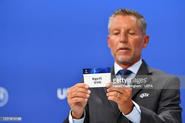 Head of Club Competitions Michael Heselschwerdt draws out the name of Riga FC during the UEFA Champions League 2020/21 First Qualifying Round draw at...