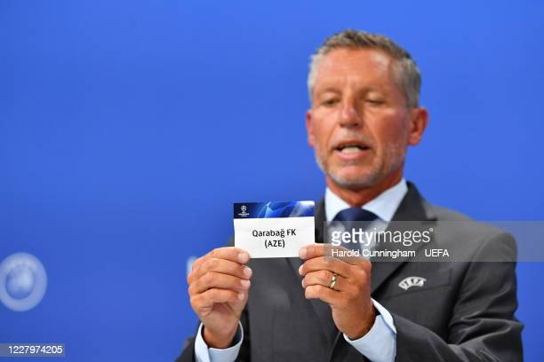 Head of Club Competitions Michael Heselschwerdt draws out the name of Qarabag FK during the UEFA Champions League 2020/21 First Qualifying Round draw...