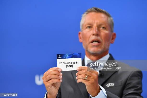 Head of Club Competitions Michael Heselschwerdt draws out the name of FC Dinamo Tbilisi during the UEFA Champions League 2020/21 First Qualifying...