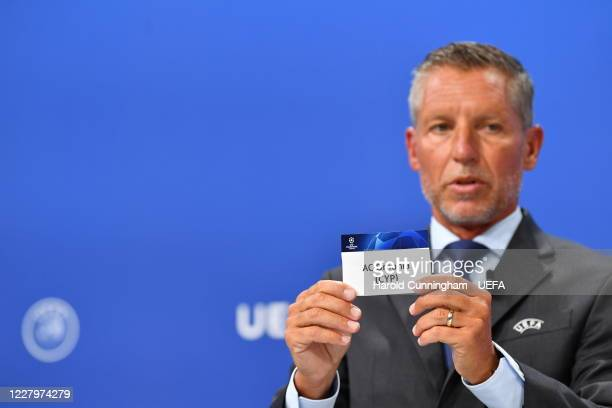Head of Club Competitions Michael Heselschwerdt draws out the name of AC Omonia during the UEFA Champions League 2020/21 First Qualifying Round draw...