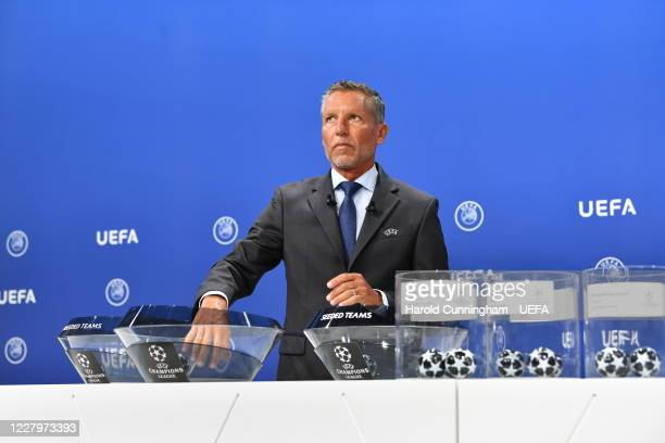Head of Club Competitions Michael Heselschwerdt during the UEFA Champions League 2020/21 First Qualifying Round draw at the UEFA headquarters The...