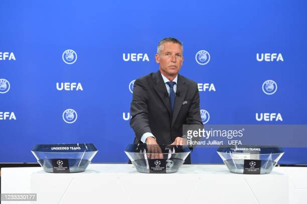 Head of Club Competitions Michael Heselschwerdt during the UEFA Champions League 2021/22 Preliminary Round draw at the UEFA headquarters, The House...