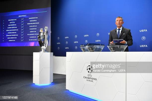 Head of Club Competitions Michael Heselschwerdt on stage during the UEFA Champions League 2020/21 First Qualifying Round draw at the UEFA...